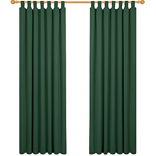 Deconovo Cortinas Dormitorio Moderno Suave Cortina Opaca para Ventanas de Habitación Infantil Niño con Trabillas 2 Paneles 140 x 210 cm Verde Oscuro