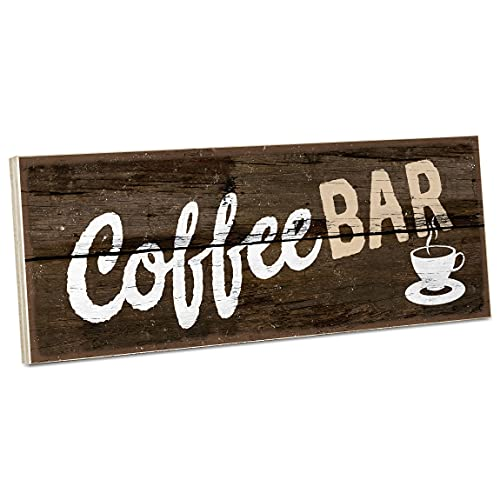 ARTFAVES Targa in legno con scritta – Coffee Bar/Vintage decorazione shabby chic/legno come regalo per donne e uomini