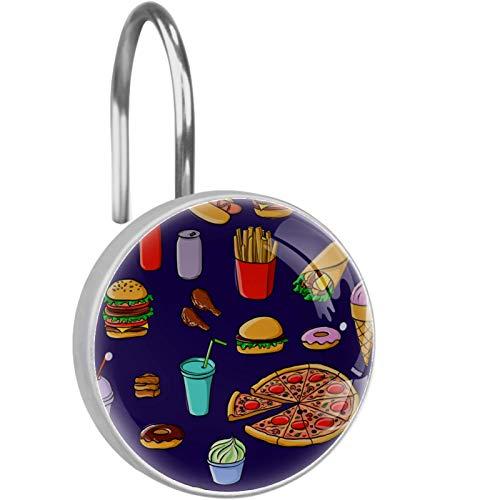 rodde 12 PCS Glass Decorative Shower Curtain Hooks,pizza french fries hamburger ketchup doughnut,Rustproof Stainless Steel Ring Round for Bathroom Window Rod Curtains