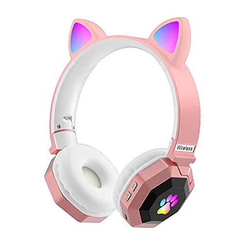 Auriculares para niños inalámbricos, orejas de gato LED con luz plegable sobre la oreja para adultos, auriculares de juego con micrófono para teléfono/ordenador portátil (rosa)