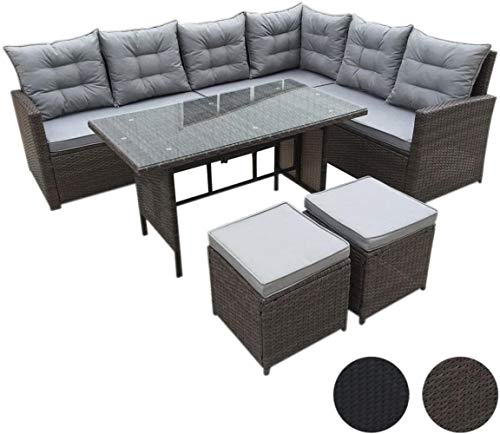 HYLMM poly rattan sofa rattan lounge dining garden furniture set sectional sofa couch-Eck (Dining Set, Brown),brown,MONROE