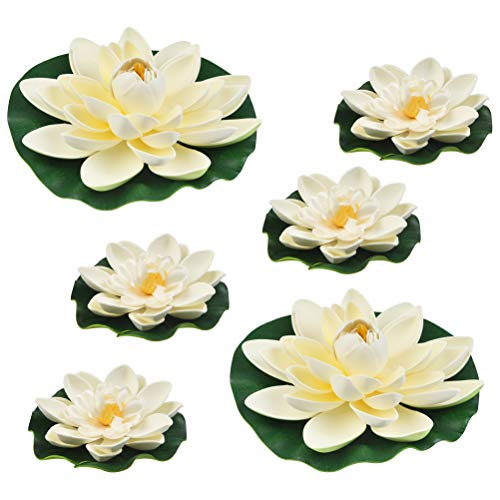 THETHO 6 pièces Nenuphar pour Bassin 18cm + 10cm Nénuphars Artificiels Flottants pour Décoration de Bassins Étanche Fleur de Lotus pour Mariage Jardin Aquariums Décoration