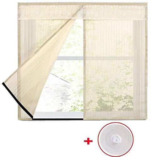 XGXQBS raamfolie, gaasgordijn met magische anti-muggenband, wasbaar, vliegengaas voor ramen 150x120cm(59x47inch) Crème kleur