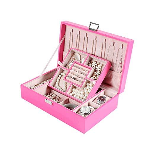 Jewelry Box 29.5 * 19.8 * 9cm Caja de Almacenamiento de joyería de Gran Capacidad de Gran Capacidad Caja de Pendiente de Collar Simple (Color: Azul) leilims (Color : Pink)