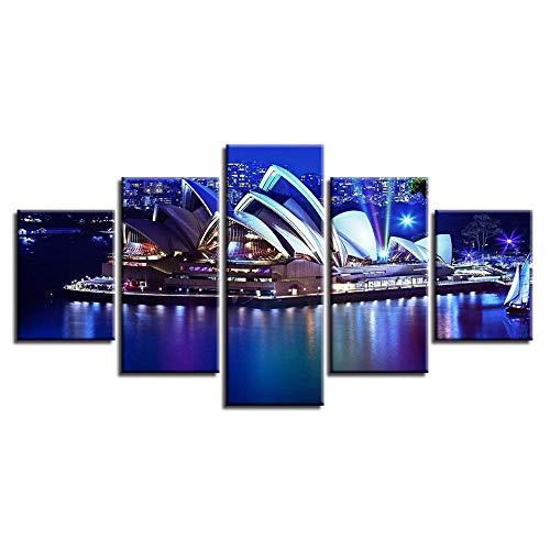 Cuadros de Pared Pósters en Lienzo-5 piezas,Cuadro Decorativo arte decorativo Moderno , Comedor, habitación, Dormitorio, Pasillo. Sydney Opera House 200x100cm (Sin Marco)