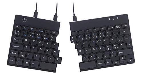 R-Go Split Ergonomische Tastatur - QWERTY (Nordic) Natürliche Tastatur mit flacher Oberfläche - Verkabelte USB-Doppeltastatur mit kompaktem Design - Leichter Tastenanschlag - LED-Ampelfarben - Schwarz