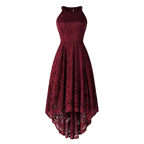 Women's Vintage Halter Floral Lace Hi-Lo Backless Bridesmaid Party Long Maxi Dress Sleeveless Casual A-Line Pleated Short Wedding Prom Retro 50s 60s Cocktail Formal Swing Dress Burgundy Small