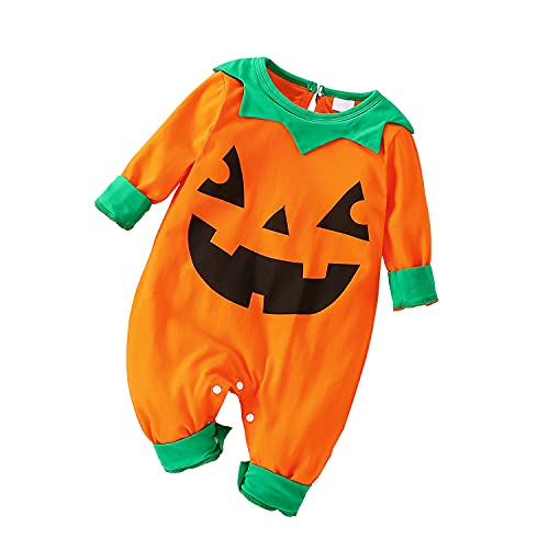 Mono para Bebé Calabaza Disfraz Halloween Body Bebé Manga Larga Terciopelo Estampado Cara Calabaza Conjunto Bebé Niña Niño para Halloween 0-24 Meses (Naranja-b, 3-6 M)