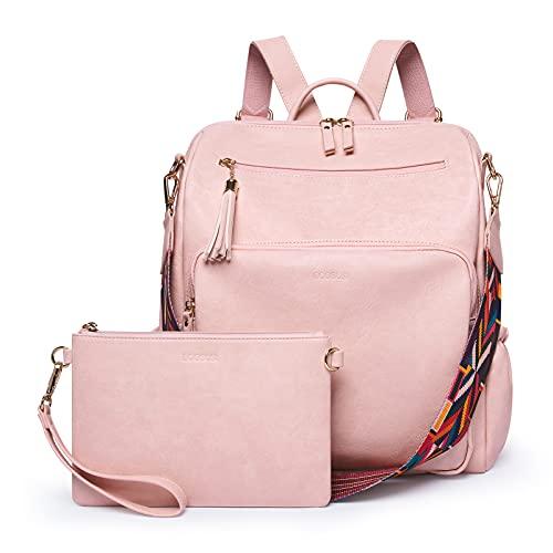 ECOSUSI Damen Rucksack Weiches Leder Groß Schultertasche Schuleinkaufstasche Stylisch Frauen Designer Schultertasche Reiserucksack (2PCS)