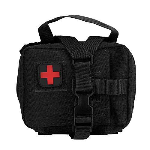 Nylon Wasserdichte Molle Erste-Hilfe-Tasche Tragbare Aufbewahrungstasche für Überlebensmedizin Geeignet für Haushalt und Outdoor-Aktivitäten zur Aufbewahrung von Arzneimitteln(Schwarz)