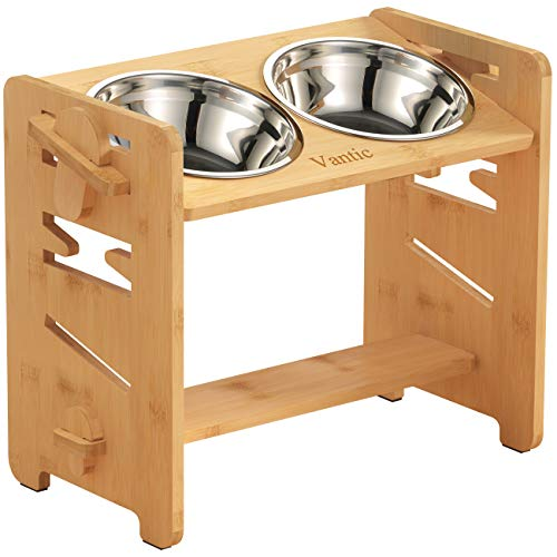 Vantic Elevated Dog Bowls-Adjustable Raised Dog Bowls for Large Dogs Medium Sized Dogs, Durable Bamboo Dog Bowl Stand with 2 Stainless Steel Bowls and Non-Slip Feet…