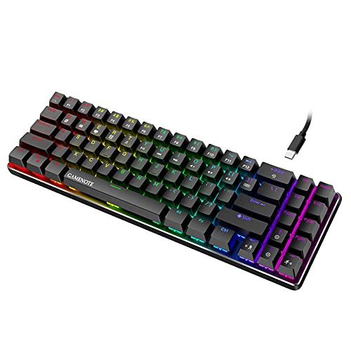 Gamenote 60% Mechanische Gaming Tastatur, Kabelgebundene 72-Tasten Mini Gaming Tastatur it Blaue Schalter und LED-Hintergrundbeleuchtung Compact Gaming Tastatur für PC Gamer und Arbeits, Schwarz