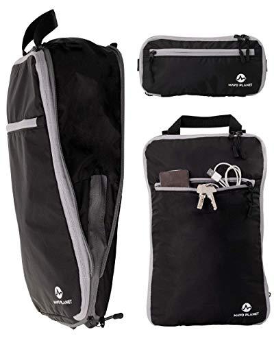3in1 Packtaschen mit Kompression. Packwürfel = Rucksack. Packing Cubes für Backpacker oder als Koffer-Organizer Set | schwarz | Mavo Planet
