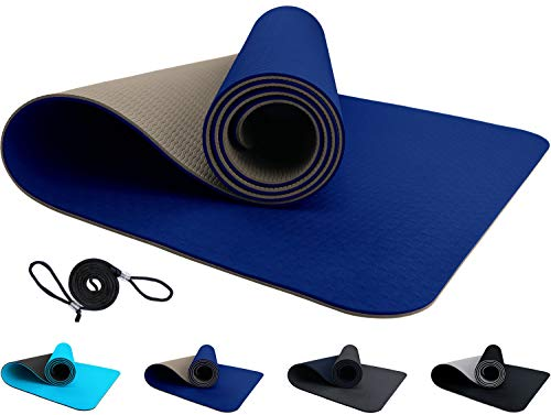 ReFit TPE Fitnessmatte mit Tragegurt blau beige Blue frei von PVC Latex Phthalaten Schwermetallen rutschfest hypoallergen öko Gymnastikmatte Übungsmatte Yoga Pilates Fitness 183 cm x 61 cm x 6 mm