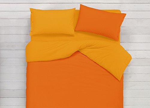 BIANCHERIAWEB Copripiumino in 100% Cotone Double Face Arancione/Ocra Singolo Arancione-Ocra