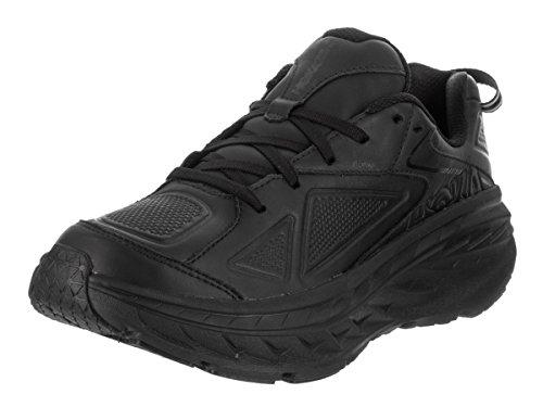 HOKA ONE ONE Mens Bondi Leather Black Running Shoe - 10.5