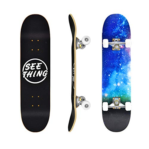 seething 31' Standard Skateboards for Beginners, 7 Layer Canadian Maple...