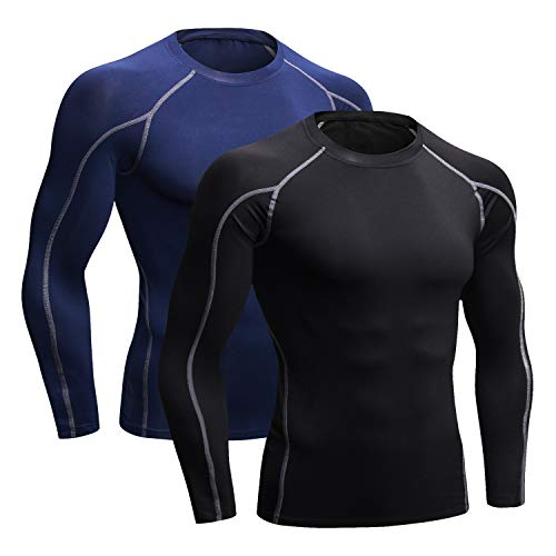 Niksa 2 Pack Long Sleeve Running Tops Mens,Base Layers Compression Top T-Shirts,Quick Dry Wicking Gym Athletic Training Workout Tee Shirts(Black&Navy Blue,L)