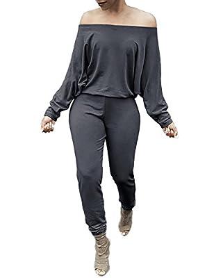 DUBACH Women Off Shoulder Solid Waisted Long Jumpsuit Romper