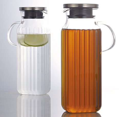 『iwaki(イワキ) 耐熱ガラス ピッチャー 冷水筒 角形 1L スクエアサーバー把手付き 麦茶 お茶 ポット KT296KT-SV』の3枚目の画像