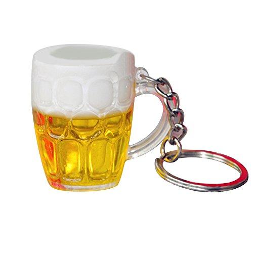 Dontdo - Portachiavi con ciondolo a forma di tazza di birra, per auto, borsetta, uomo o ragazzo, decorazione da appendere Multi