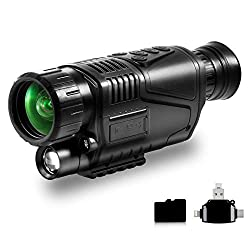 """Gexmil 5X40 Infrared Night Vision Monocular with 1.5"""" TFT LCD and Video Playback for Camping Hunting Observing Wildlife"""