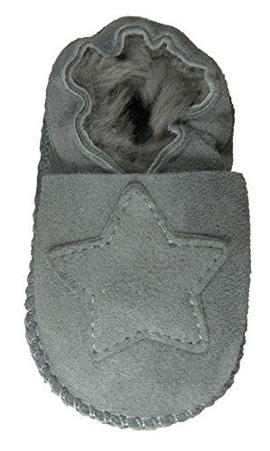 Plateau Tibet - ECHT Lammfell Baby Schuhe Krabbelschuhe - Stern, Grau (Gray), Gr. 18-19