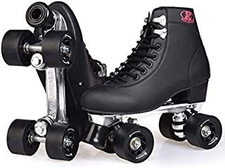 FUTURESTAR Double Row Roller Skates Roller Skates Aluminum Alloy Frame Skating Rink Special Four-Roller Skates for Adult Men and Women Roller Skates Black 13