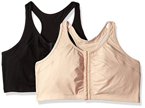 Fruit of the Loom Women's Front Close Racerback (Pack of 2) Bra, Sand/Black, 38