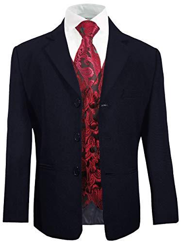 Paul Malone - Jungenanzug Kinderanzug festlich blau + rotes Westen Set mit Krawatte/Hochzeit Kommunion Konfirmation Taufe 14