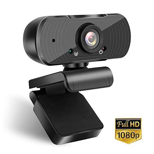 Webcam 1080p, Autofokus, Belichtungskorrektur,USB Computerkamera, Geräuschreduzierung-Mikrofone, Zusammenklappbarem Design für PC Laptop und Weitwinkel für YouTube Skype Videoanrufe Lernen Konferenz