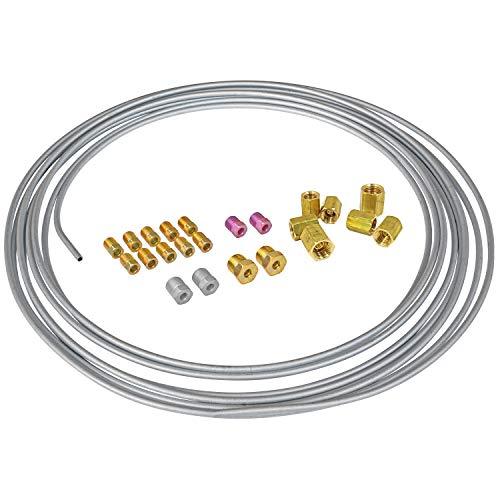 "4LIFETIMELINES 3/16"" Galvanized Steel Brake Line Replacement Kit and 3/16"" Union Kit"