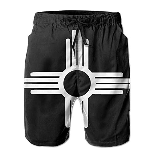 XCNGG Pantalones Cortos de Playa Zia Symbol Men's Swim Trunks Quick Dry Waterproof Beach Pants Beach Board Short with Pockets