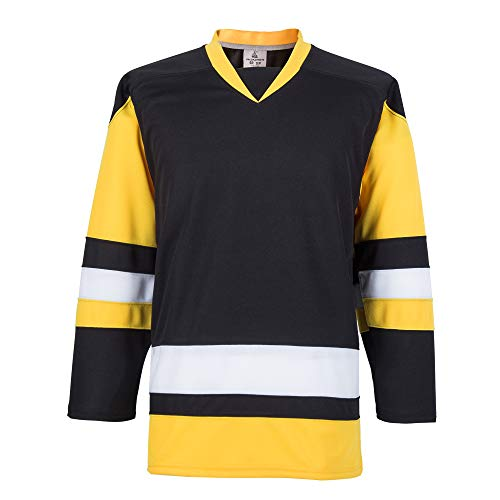 EALER H900-E Series Multicolor and Blank Ice Hockey League Sports Practice Jersey -Men and Boy- Adult and Youth-Senior to Junior(Black,X-Large)