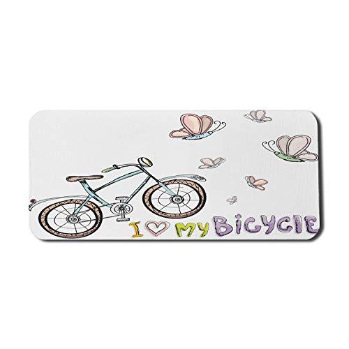Fahrrad Computer Mauspad, Doodle Style Radfahren Freizeit Thema ein kleines Kinder Fahrrad Schmetterlinge, Rechteck rutschfeste Gummi Mousepad X-Large Gaming-Größe, mehrfarbig