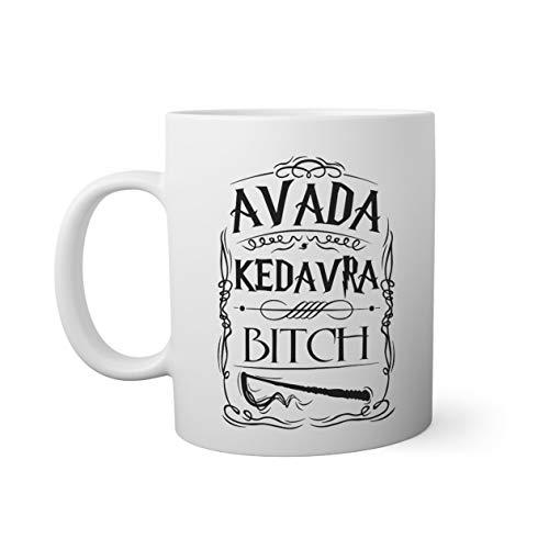 Trendy Avada Kedavra Bitch Taza Blanca | Funny Novelty Mugs For Coffee Tea 330ml