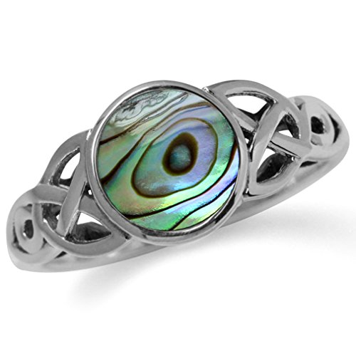 Silvershake Abalone Paua Shell Inlay 925 Sterling Silver Triquetra Celtic Knot Solitaire Ring Size 8.5