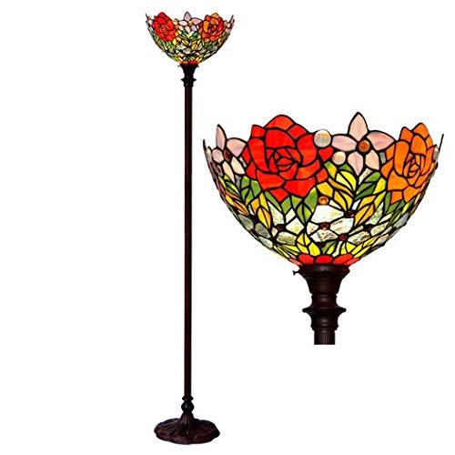 DSHBB vloerverlichting, 16 inch Tiffany vloerlamp met glazen lampenkap, staande lamp voor woonkamer, bar, slaapkamer, E27 * 2 40W