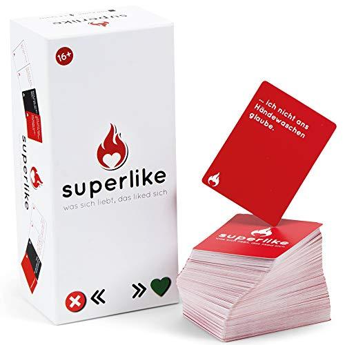 Simon und Jan - SUPERLIKE - Die witzigste Partnersuche der Welt - Partyspiel für 3-8 Spieler - Gesellschaftsspiel für Erwachsene - Geschenkidee - Kartenspiel