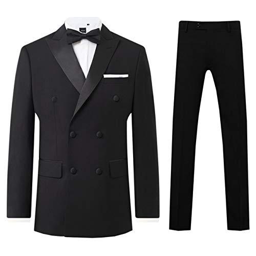 Dobell Herren Smoking Anzug Zweiteilig Schwarz Zweireihig Steigendes Revers (56 Jackett mit 56 Hosen)