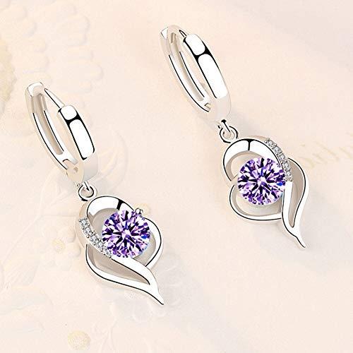 Home CNLXDSB Arete 925 Sterling Silver New Woman Joyería de Moda Rosa Rosa Blanco Púrpura Cristal Zircon Pendientes Mujeres niñas (Gem Color : 065)