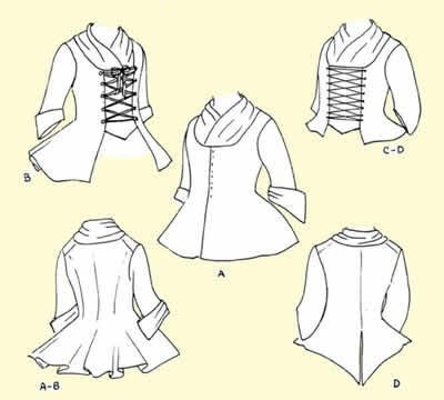 """18th Century Jackets Pattern (Large-14-16, Bust size 40-42"""")"""