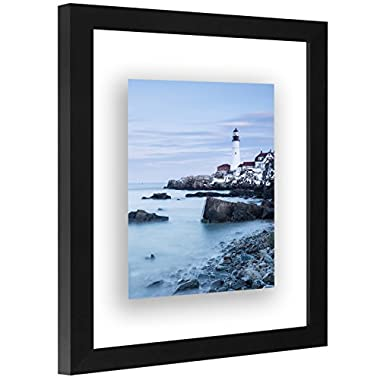 Americanflat 8x10 Black Floating Frame - Modern Picture Frame Designed to Display a Floating Photograph