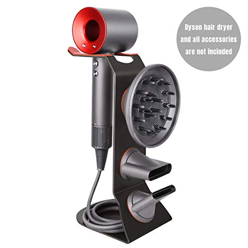 FLE Hair Dryer Stand Holder - New upgrade Protective Silicone Pad Design for Dyson Dryer and Compatible for All Dyson Supersonic Models(Metal Black)