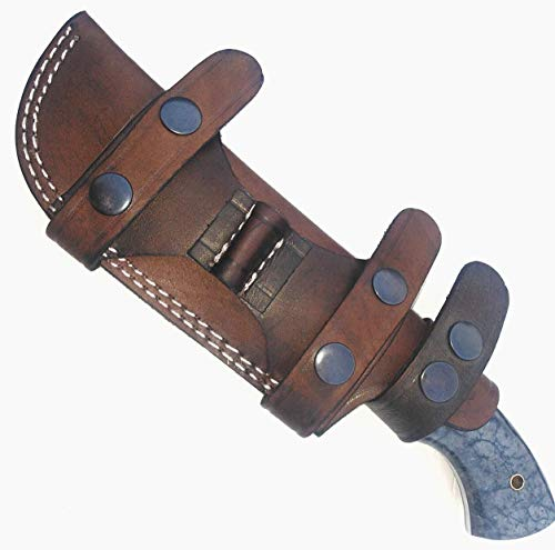 Ottoza Handmade Leather Knife Sheath Right Hand Bushcraft Knife Sheath - Hunting Knife Sheath - Survival Knife Sheath - Fixed Blade Knife Sheath Horizontal Carry Dark Brown TOP Grain Leather No:2
