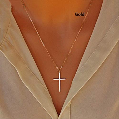 Yienate Bohemia Halskette, schlicht, modisch, Kreuz-Anhänger, Kette, Schmuck für Damen und Mädchen (Silber)