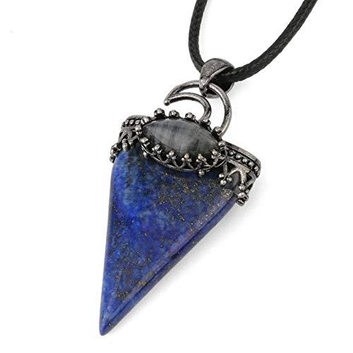 Collar De Piedra,Joyas con Colgante De Triángulo De Luna Bohemia con Lapislázuli Natural Fiesta De Navidad Esposa, Novia, Amiga, Hija