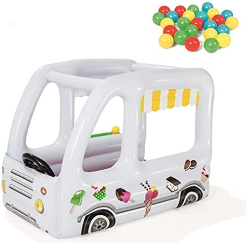 FANLIU Aufblasbare Prahler Hüpfburgen for Kinder Toy House Ice Cream Auto-Haus mit 10 Ozean-Kugel-und Elektropumpe for Innen- und Außenbereich Garten Kinderspielplatz, 122 * 84 * 84cm