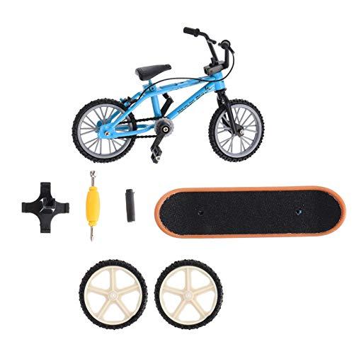 BESPORTBLE Mini Fingerspielzeug Set Finger Skateboards Fahrrad Roller Winziges Schaukelbrett Fingerspitzen Bewegung Party Gefälligkeiten Ersatz Räder Werkzeuge (Blau)