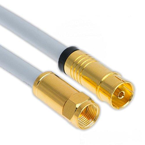 10m Koaxial Sat Antennen Kabel 135dB F-Stecker auf Koax Buchse/Kupplung Vergoldet Digital Class A+ Antennenkabel 3D 4K Ultra HD (10m, Weiß)